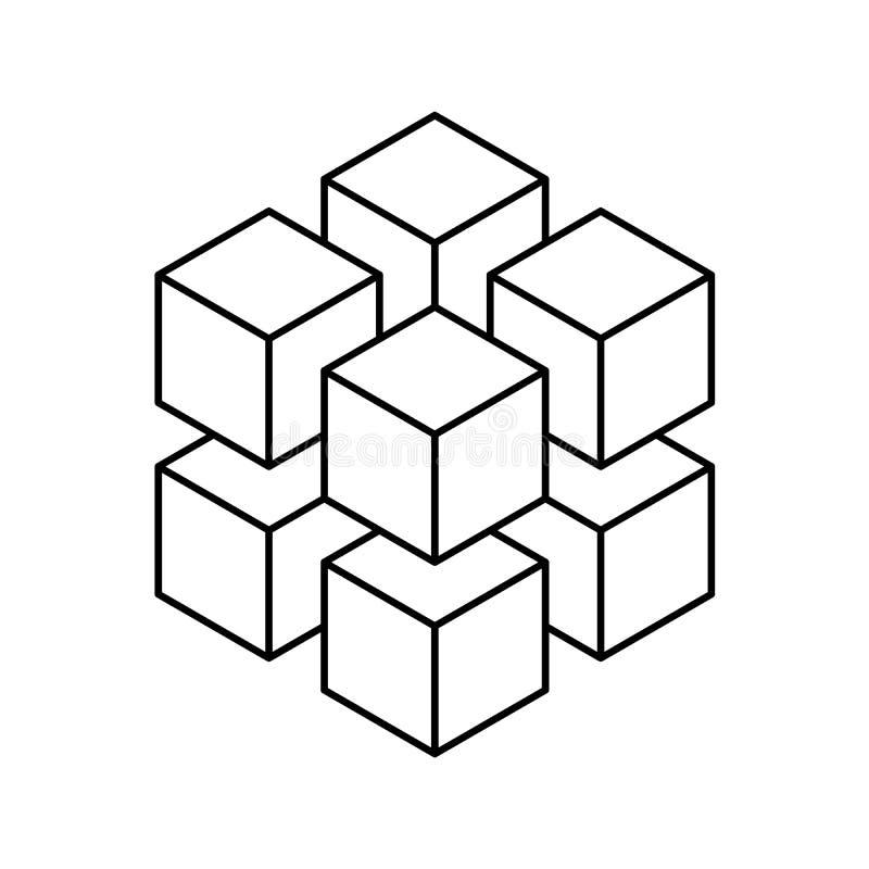 Geometrischer Würfel von 8 kleineren isometrischen Würfeln Abstraktes Auslegung-Element Wissenschaft oder Baukonzept Schwarzer En stock abbildung