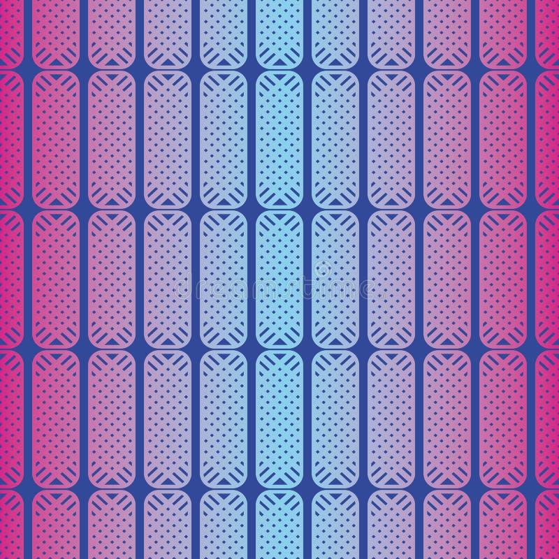 Geometrisches abstraktes Muster des nahtlosen Vektors mit gerundeten Quadraten in den ganz eigenhändig geschrieben ultravioletten stock abbildung