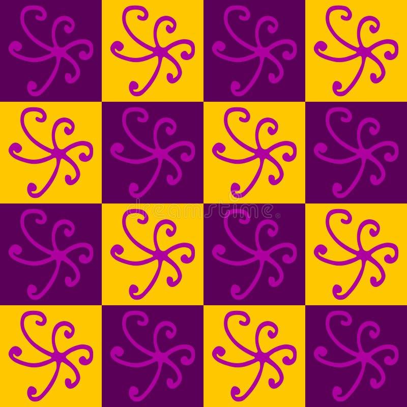Geometrisches abstraktes Muster Veilchen und Gelb lizenzfreie abbildung
