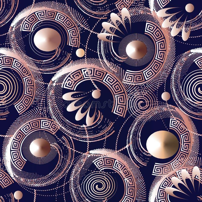 geometrisches aufwändiges nahtloses Muster 3d Abstrakte Vektorgriecherückseite vektor abbildung