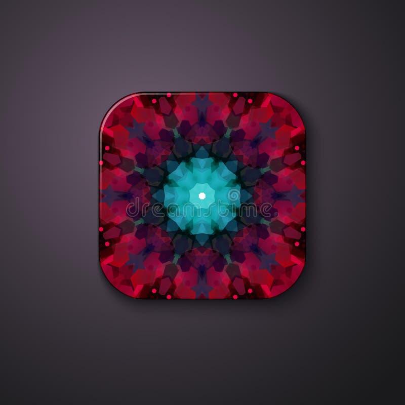 Geometrisches Blumenmuster auf einem quadratischen Knopf stock abbildung