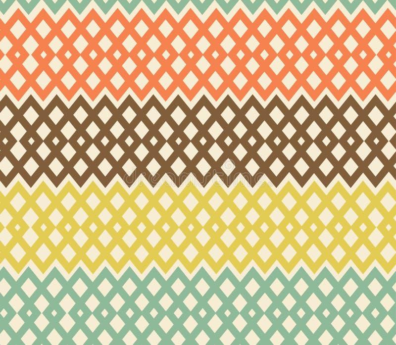Geometrisches buntes nahtloses Muster. Filetarbeit struc stock abbildung
