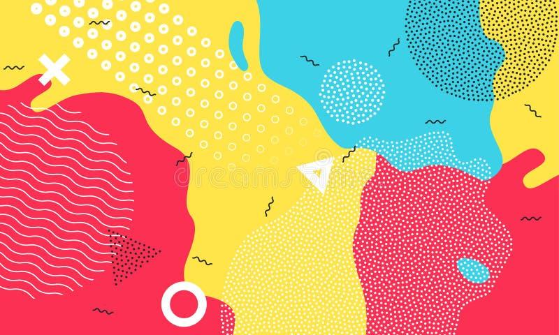 Geometrisches Design der bunten Spielplatzvektorzusammenfassung des Karikaturfarbspritzenhintergrundes kindischen Kinder lizenzfreie abbildung