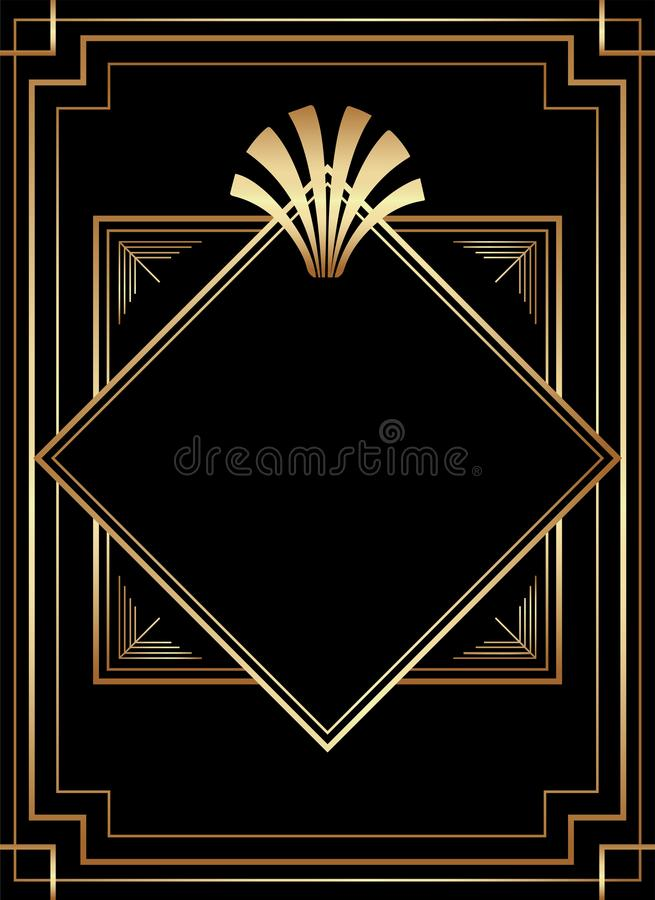 Geometrisches Design Gatsby Art Deco Style Print Frame vektor abbildung