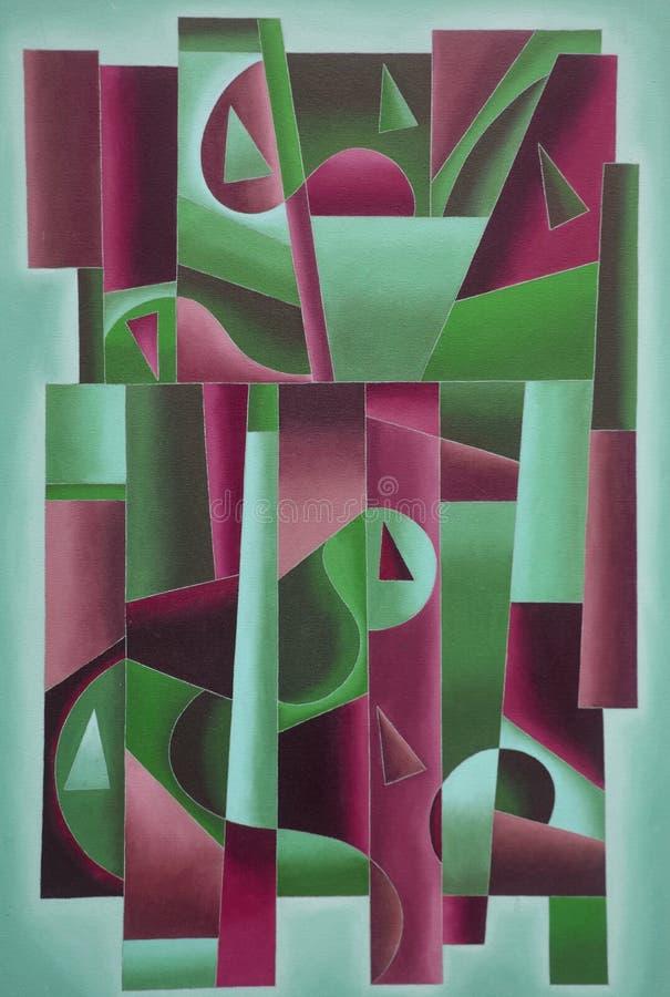 Geometrisches Digital-Kunstgrün und -bordeaux stock abbildung