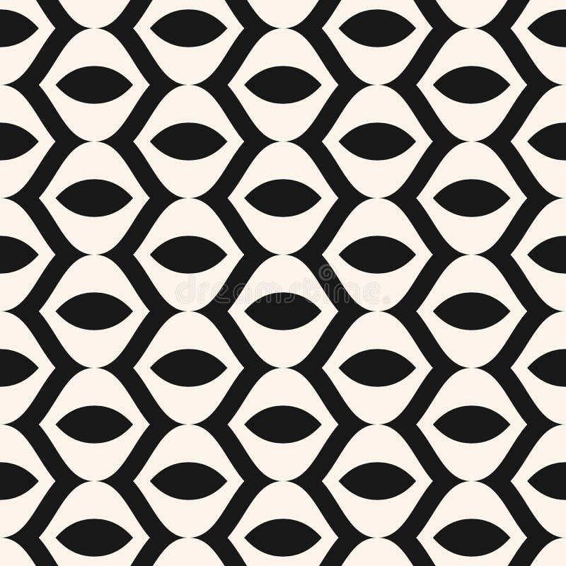 Geometrisches einfarbiges nahtloses Muster der Vektorzusammenfassung mit gebogenen Formen, Linien lizenzfreie abbildung