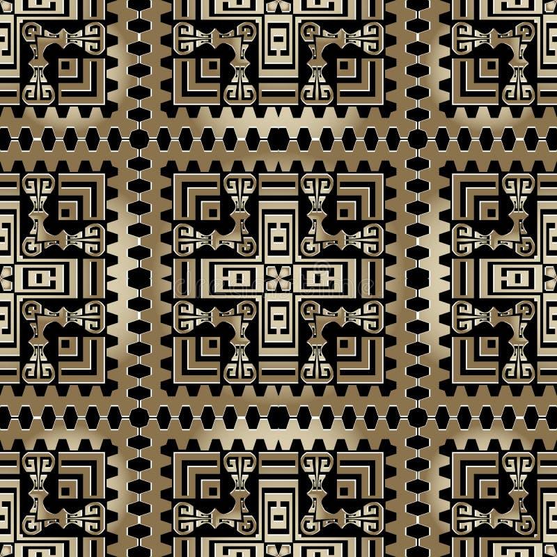 Geometrisches, ethnisch geprägtes Goldvektor Eleganter, abstrakter Hintergrund griechischer Teppich vektor abbildung