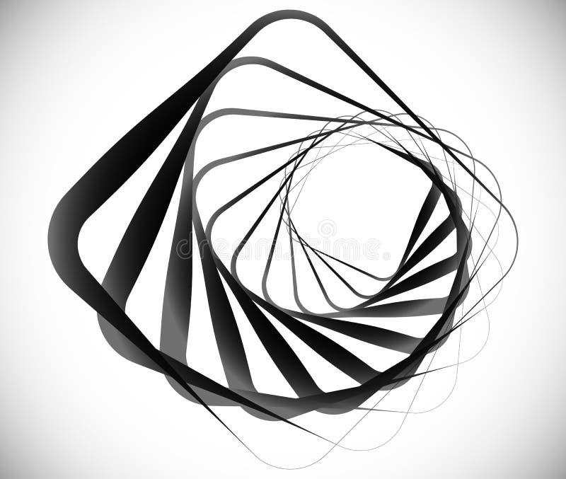 Geometrisches gewundenes Element gemacht von den Quadraten lizenzfreie abbildung
