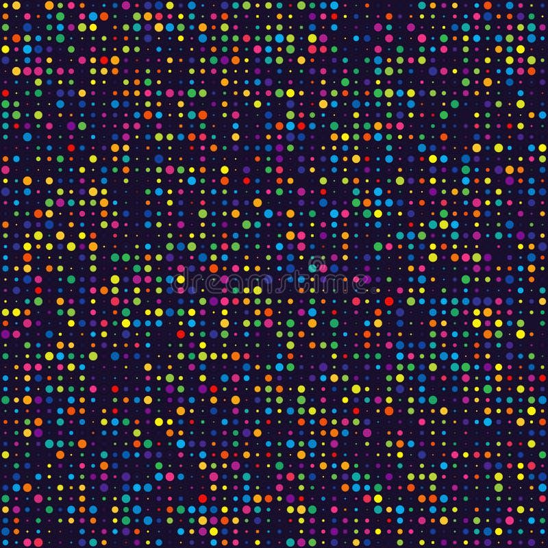 Geometrisches Gitter von bunten Kreisen der unterschiedlichen Größe auf dunklem BAC stock abbildung