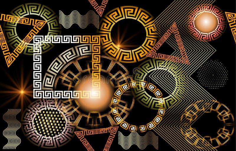 Geometrisches glühendes nahtloses Muster des griechischen Vektors 3d stock abbildung