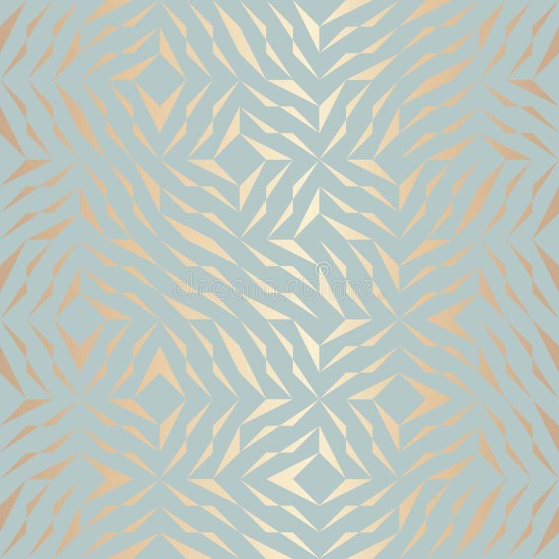 Geometrisches goldenes Elementmuster des nahtlosen Vektors Abstrakte Hintergrundkupferbeschaffenheit auf blauem Grün Einfache min lizenzfreie abbildung