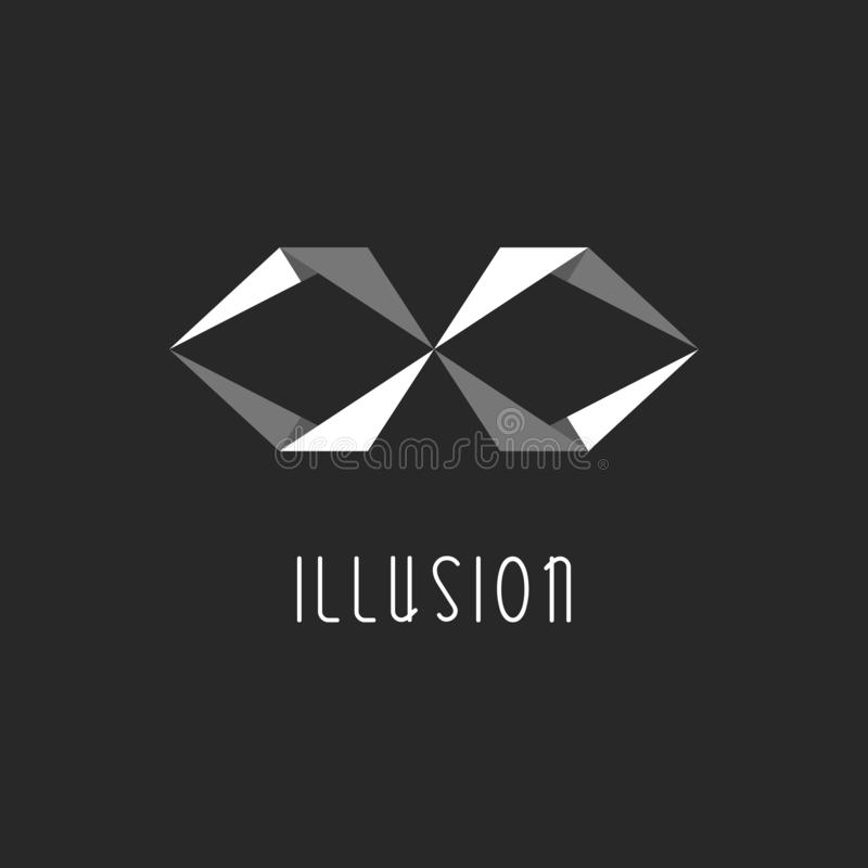 Geometrisches Illusionslogo, abstrakter Buchstabe X oder Unendlichkeitszeichen, Überschneidungseffekt lizenzfreie abbildung