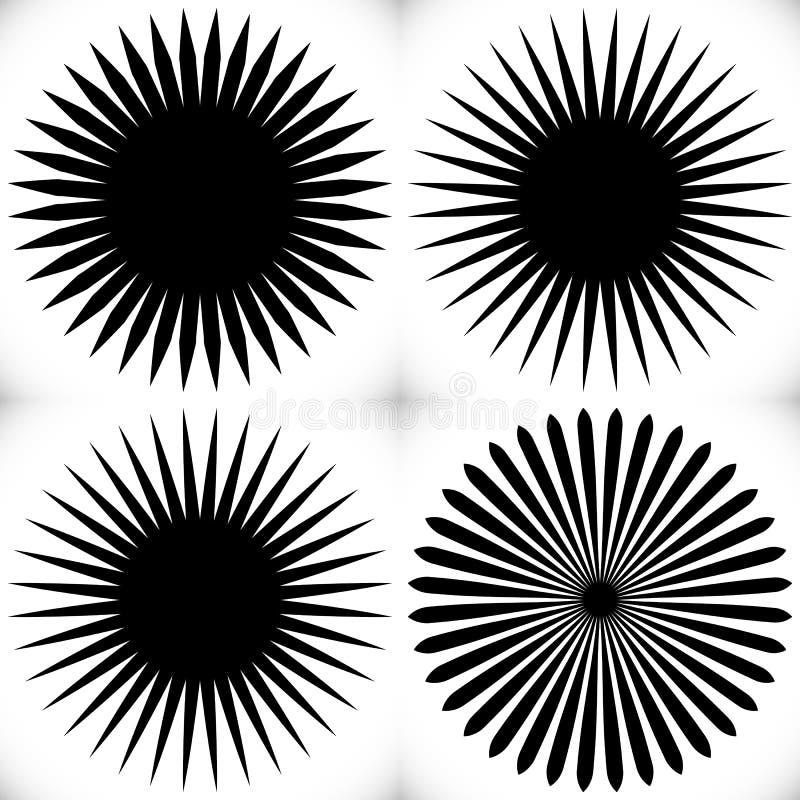 Geometrisches Kreiselement von Radiallinien Sprengung von Linien Mischen vektor abbildung