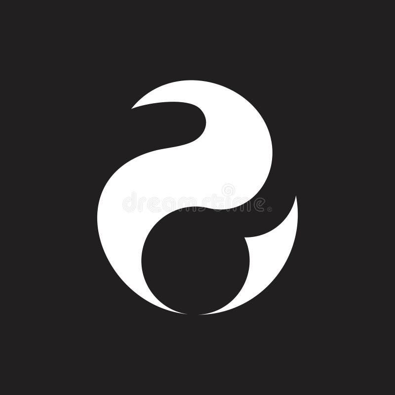 Geometrisches Logo der einfachen Kurven des Zusammenfassungsnummer zwei lizenzfreie abbildung