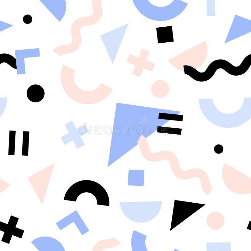 Geometrisches modisches Retro- nahtloses Muster 80s lizenzfreie abbildung
