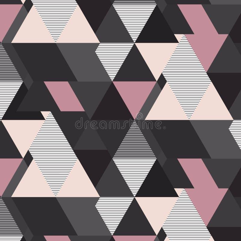 Geometrisches Mosaikmuster des Vektors Graue rosa und beige futuristische Dreieckelemente Gestreifter Retro- Dekorationsdruck vektor abbildung
