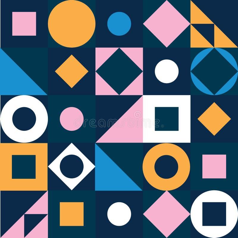 Geometrisches Muster Abstraktes buntes Dreieck, Kreis, Quadrat, nahtloser Hintergrund der Raute Mehrfarbiges geometrisches stock abbildung