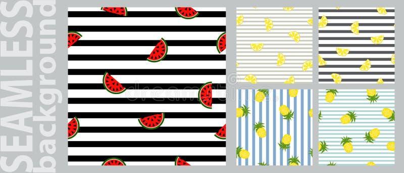 Geometrisches Muster der nahtlosen gestreiften Frucht, Vektorillustration Designhintergr?nde vektor abbildung