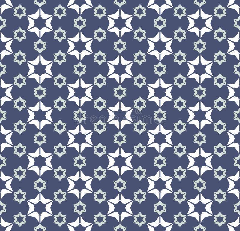 Geometrisches Muster der Vektorzusammenfassung mit Blumenformen, Sterne, Schneeflocken lizenzfreie abbildung