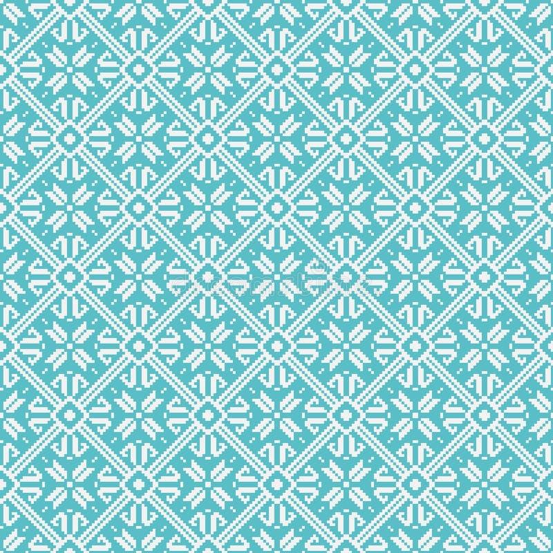 Geometrisches Muster des nahtlosen Schneeflockenhintergrundes stock abbildung