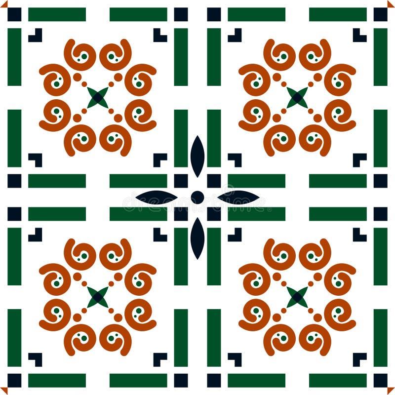 Geometrisches Muster des portugiesischen Fliese Azulejo-Vektor-Hintergrundes lizenzfreie abbildung