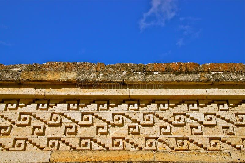 Geometrisches Muster (Grecos), Mitla Ruinen, Mexiko stockbild
