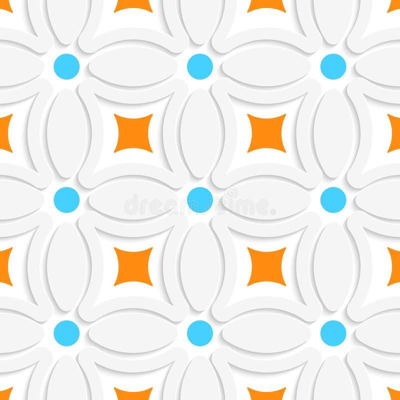Geometrisches Muster mit orange Quadraten und blauen Punkten lizenzfreie abbildung