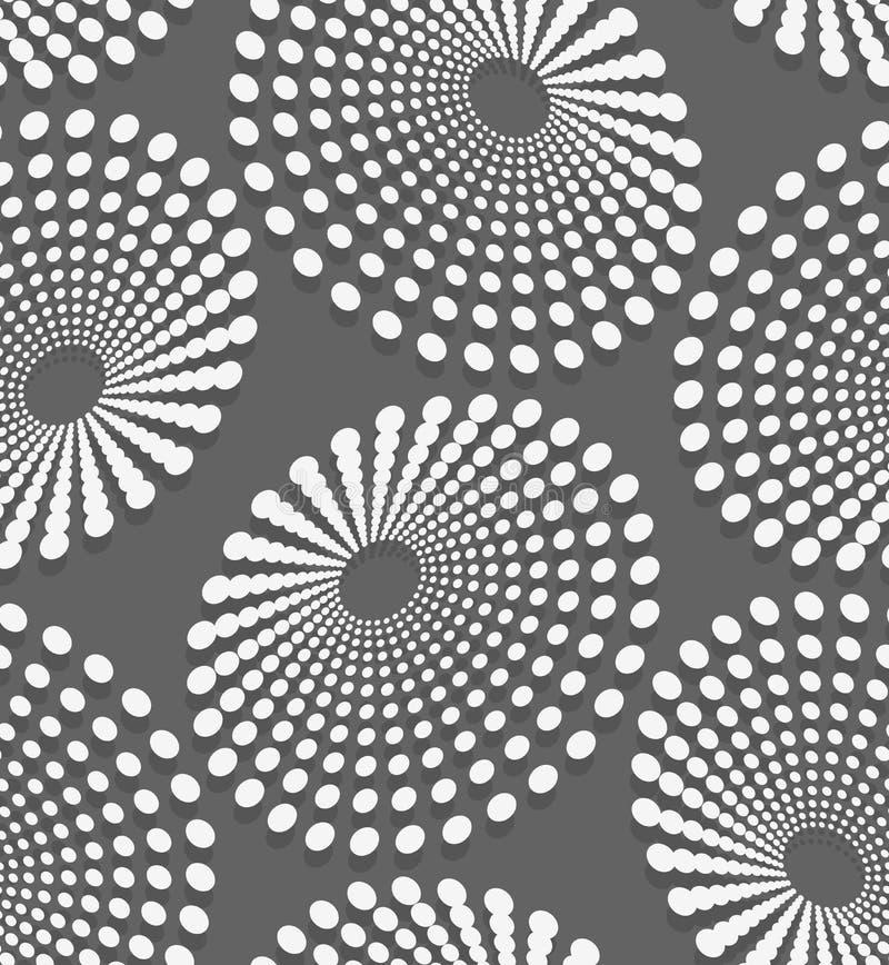 Geometrisches Muster mit Weiß punktierten konzentrischen Ovalen stock abbildung