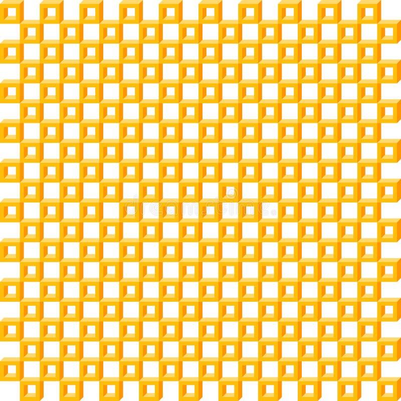 Geometrisches Muster, nahtloser quadratischer einfacher orange isometrischer Kasten der Hintergrundbeschaffenheit 3d lizenzfreie abbildung