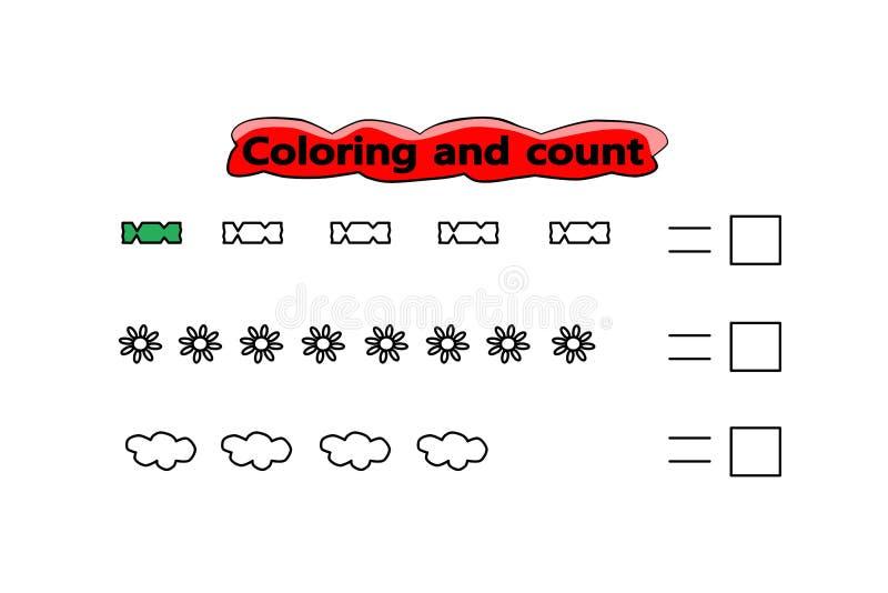 Geometrisches Muster VectGame für Kinder Farbtonschablone Kinderschulübung Interessantes Kindergartenrätsel Spaßmathematik vektor abbildung