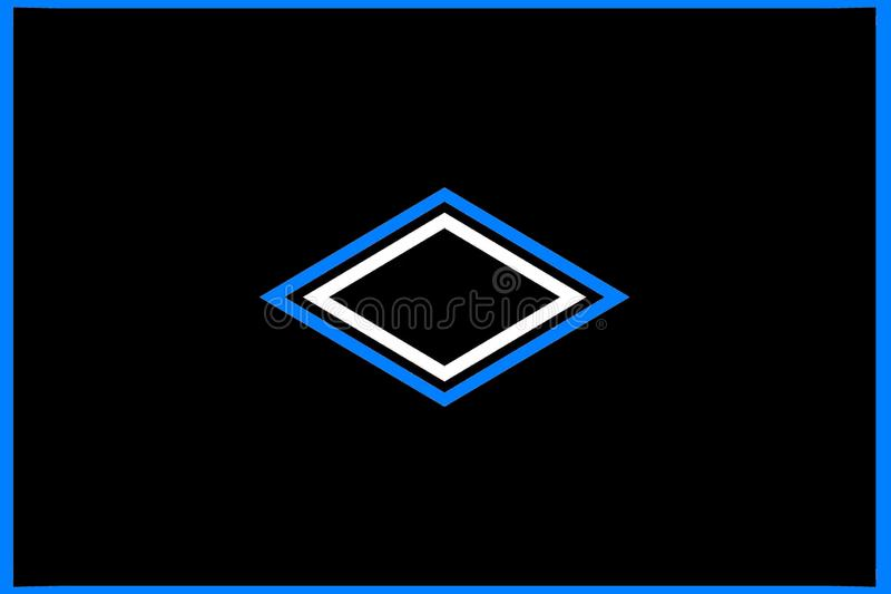 Geometrisches Muster: zentrierte schwarze, blaue und weiße Diamanten vektor abbildung