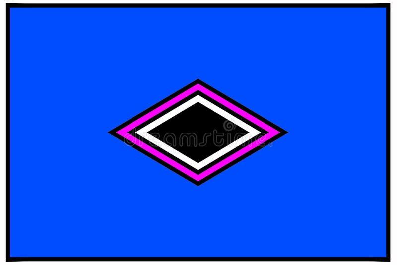 Geometrisches Muster: zentrierte schwarze, pinkfarbene und weiße Diamanten stock abbildung