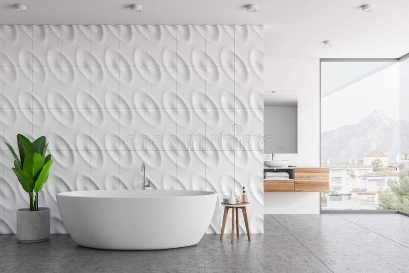 Geometrisches Musterdachbodenbadezimmer stock abbildung