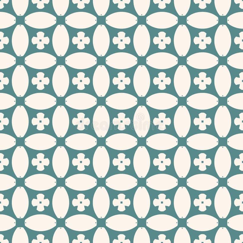 geometrisches nahtloses Muster Abstraktes Blumenmosaik in der Knickente und in den beige Farben stock abbildung