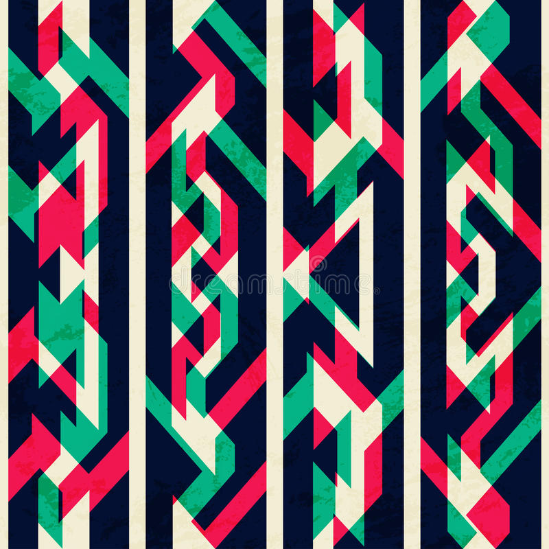 Geometrisches nahtloses Muster der Weinlese mit Schmutzeffekt lizenzfreie abbildung