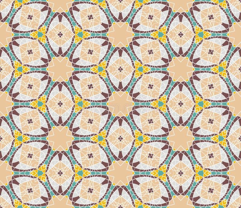 Geometrisches nahtloses Muster der Weinlese Vektorhintergrund, Retro- Beschaffenheit stock abbildung