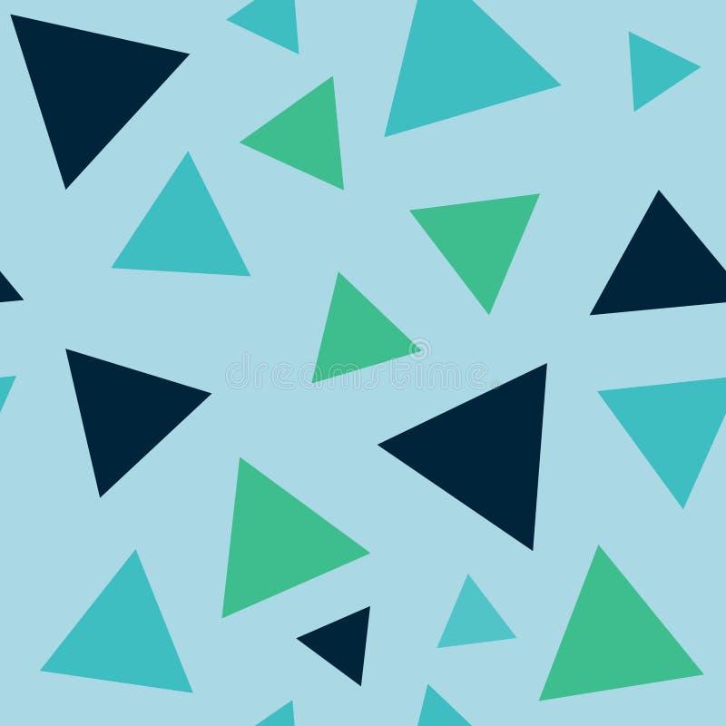 Geometrisches nahtloses Muster der Zusammenfassung mit den Dreieck-, Blauen und Grünenfarben lizenzfreie abbildung