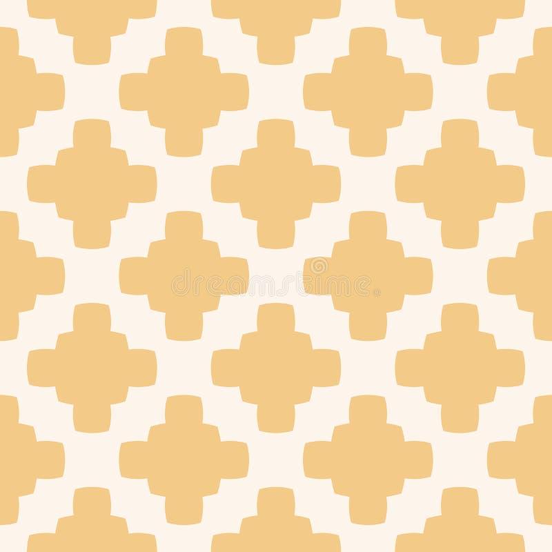 Geometrisches nahtloses Muster des einfachen Zusammenfassungsvektors in den wei?en und gelben Farben stock abbildung