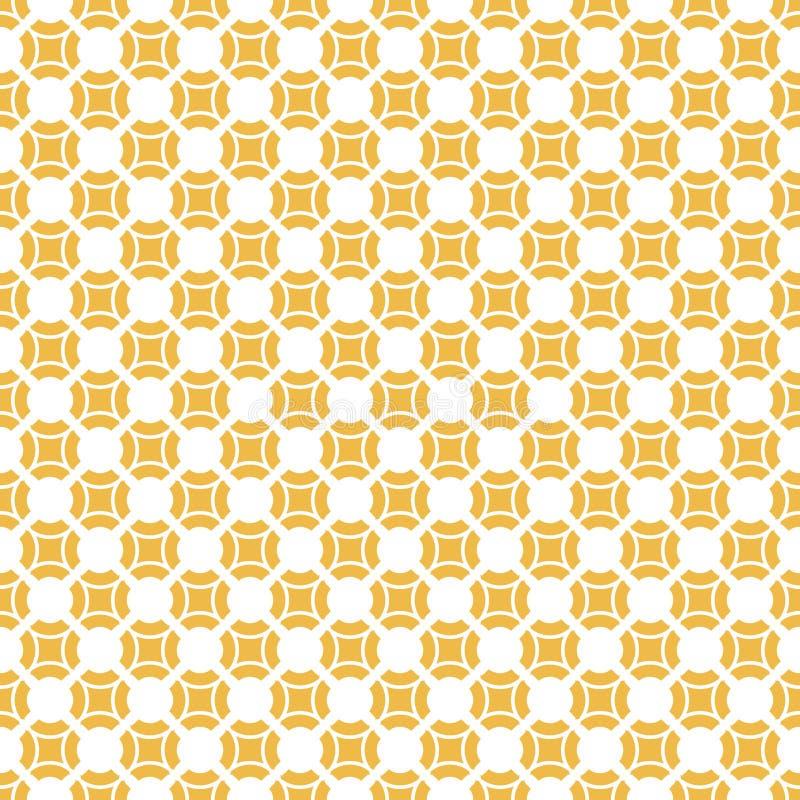 Geometrisches nahtloses Muster des gelben Vektors mit kleinen Quadraten, Kreise, Fliesen lizenzfreie abbildung