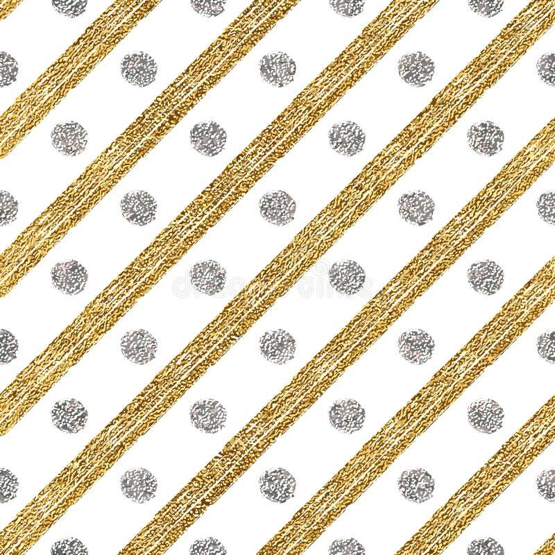 Geometrisches nahtloses Muster des goldenen Funkelns und silberne diagonale Anschläge kreisen ein lizenzfreie abbildung