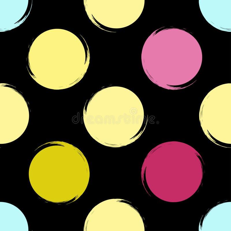 Geometrisches nahtloses Muster des netten Vektors Reale gemalte abstrakte Beschaffenheit wurde zu verfolgt Tupfen stock abbildung