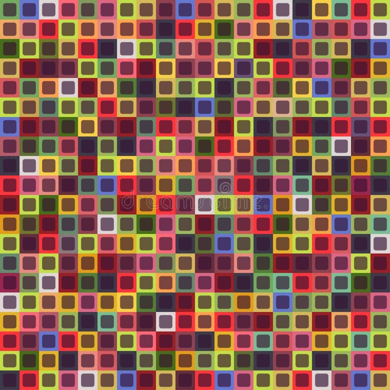 Geometrisches nahtloses Muster des Quadrats, abstrakter Hintergrund Kariertes Design, helle mehrfarbige Quadrate Für stock abbildung