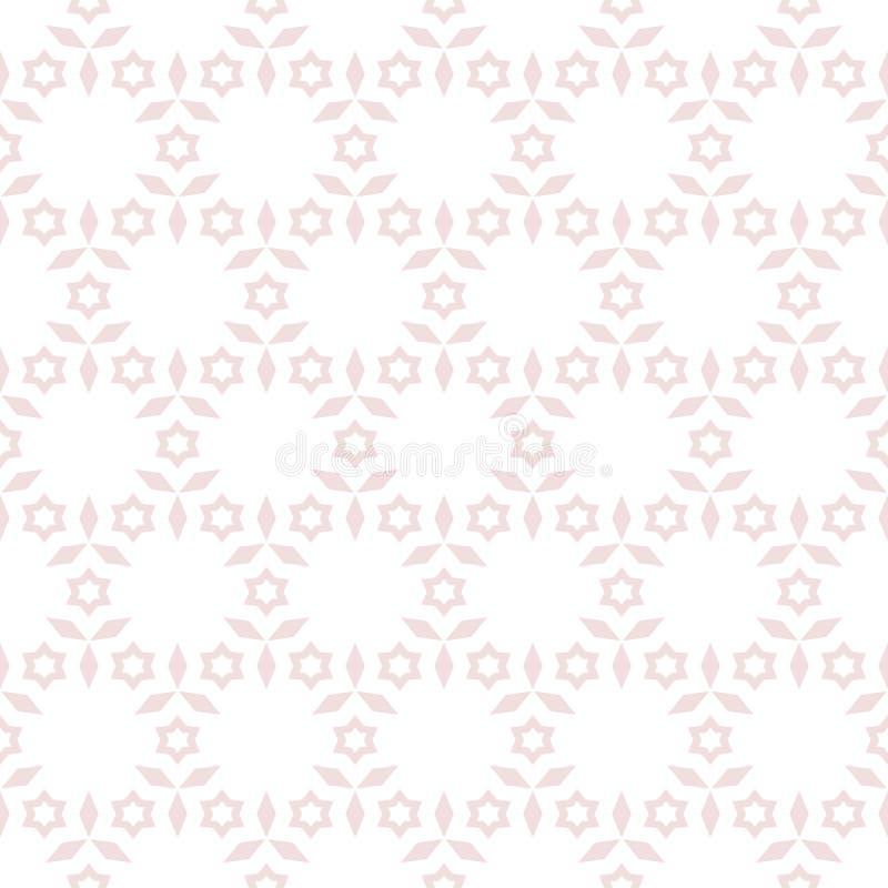 Geometrisches nahtloses Muster des subtilen Vektors mit Sternen, Blumen Rosa und Wei? stock abbildung