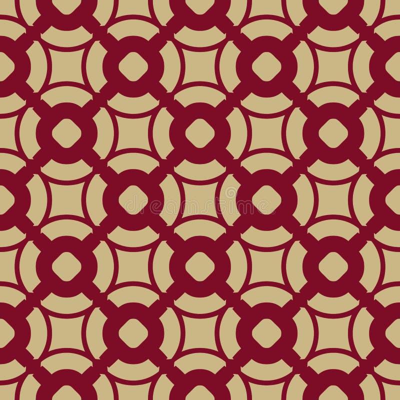 Geometrisches nahtloses Muster des Vektors in der asiatischen Art Rot und Verzierung des Goldtraditionellen Chinesen lizenzfreie abbildung