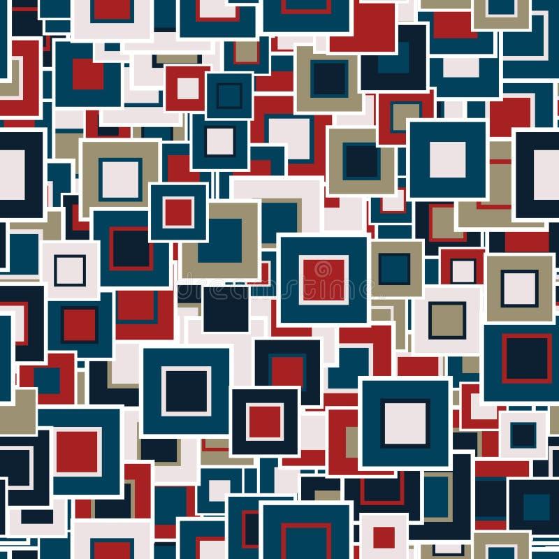 geometrisches nahtloses Muster Die mehrfarbigen Quadrate der unterschiedlichen Größe lizenzfreie abbildung