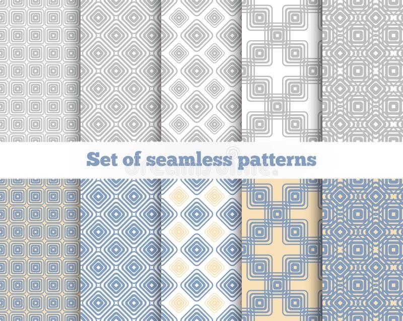 Geometrisches nahtloses Muster Grau, blau, Gelb lizenzfreie abbildung