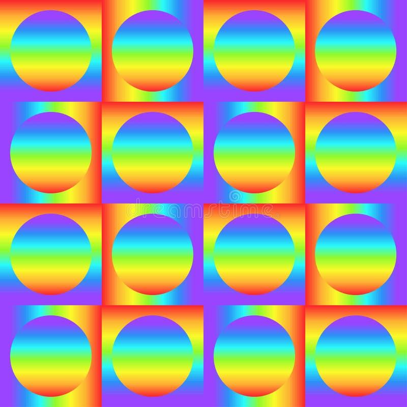 Geometrisches nahtloses Muster mit mehrfarbigen Steigungsquadraten und Kreisen, Regenbogenfarbabstrakte Verzierung, grafische Bes stock abbildung