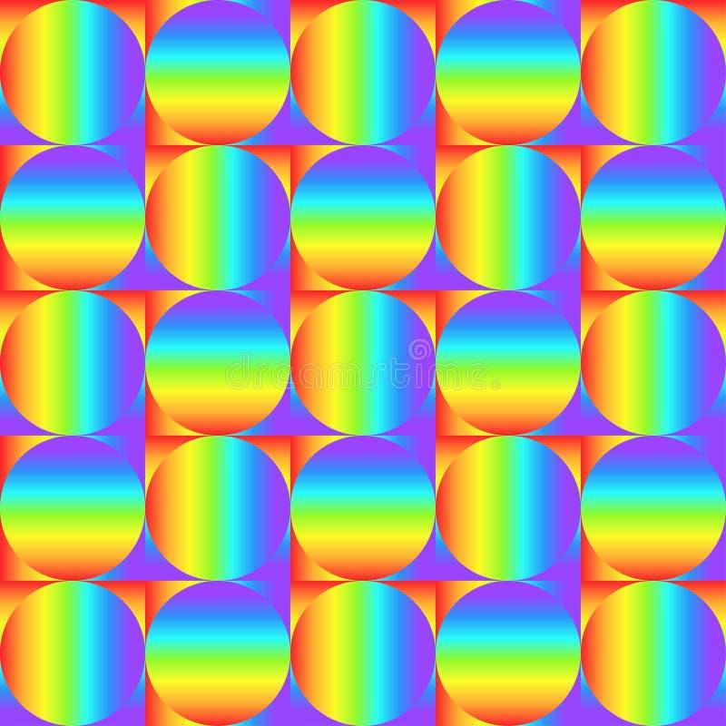 Geometrisches nahtloses Muster mit mehrfarbigen Steigungsquadraten und Kreisen, Regenbogenfarbabstrakte Verzierung, grafische Bes vektor abbildung