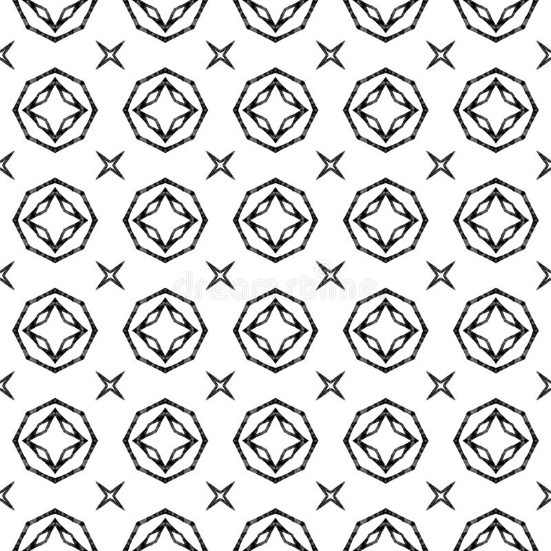 Geometrisches nahtloses Schwarzweiss-Muster Hand d vektor abbildung
