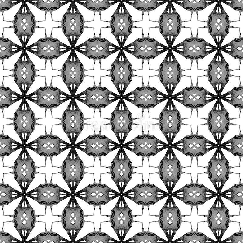 Geometrisches nahtloses Schwarzweiss-Muster Hand d stock abbildung